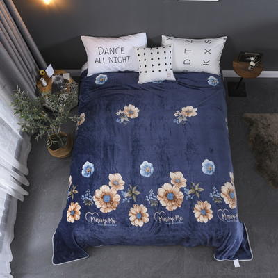 2019新款250克牛奶绒珊瑚绒法莱绒金貂绒单床单  场景二 180cmx230cm 满庭芳-蓝