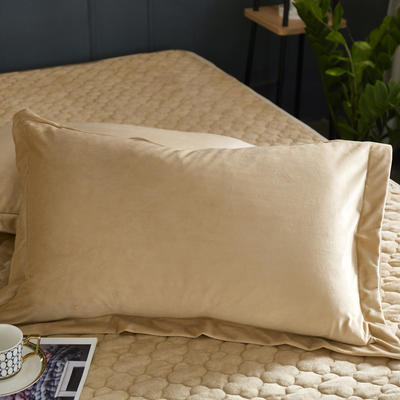 2019新款牛奶绒珊瑚绒法莱绒金貂绒水晶绒素色单枕套  拍摄场景1 48cmX74cm  一对 驼色