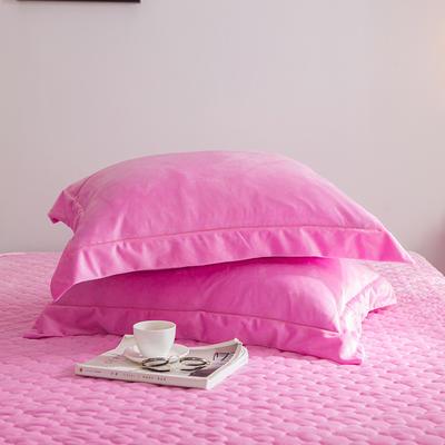 2019新款牛奶绒珊瑚绒法莱绒金貂绒水晶绒素色单枕套  拍摄场景2 48cmX74cm 一对 粉色