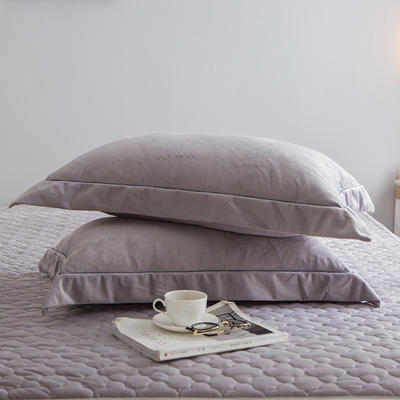 2019新款牛奶绒珊瑚绒法莱绒金貂绒水晶绒素色单枕套  拍摄场景2 48cmX74cm 一对 灰色