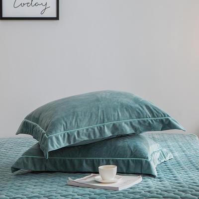 2019新款牛奶绒珊瑚绒法莱绒金貂绒水晶绒素色单枕套  拍摄场景2 48cmX74cm 一对 墨绿