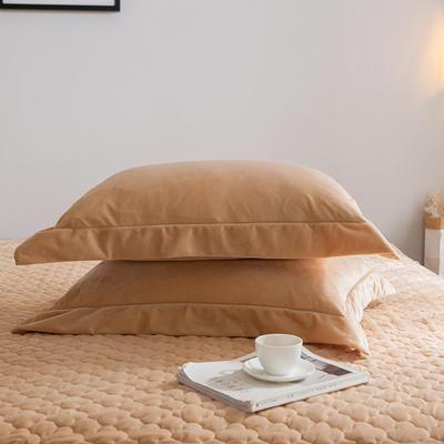 2019新款牛奶绒珊瑚绒法莱绒金貂绒水晶绒素色单枕套  拍摄场景2 48cmX74cm 一对 驼色