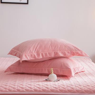 2019新款牛奶绒珊瑚绒法莱绒金貂绒水晶绒素色单枕套  拍摄场景2 48cmX74cm 一对 玉色