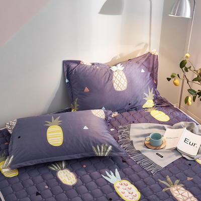 2019新款牛奶绒珊瑚绒法莱绒金貂绒水晶绒印花夹棉单枕套 48cmX74cm 一对 蓝底菠萝
