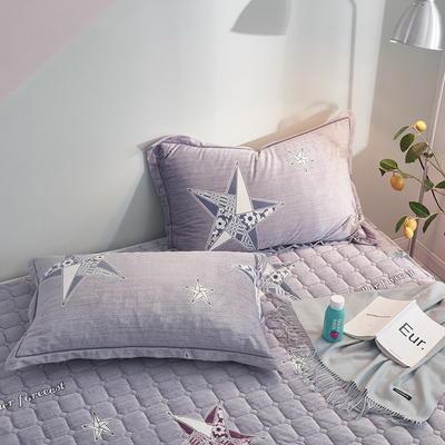 2019新款牛奶绒珊瑚绒法莱绒金貂绒水晶绒印花夹棉单枕套 48cmX74cm 一对 立体星星-灰