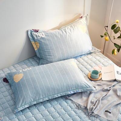 2019新款牛奶绒珊瑚绒法莱绒金貂绒水晶绒印花夹棉单枕套 48cmX74cm 一对 绿底爱心