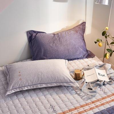 2019新款牛奶绒珊瑚绒法莱绒金貂绒水晶绒印花夹棉单枕套 48cmX74cm 一对 奢靡-米