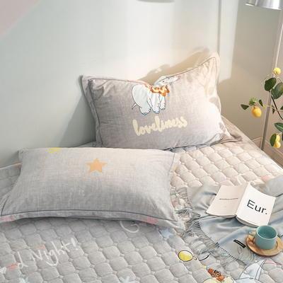 2019新款牛奶绒珊瑚绒法莱绒金貂绒水晶绒印花夹棉单枕套 48cmX74cm 一对 小象奇缘
