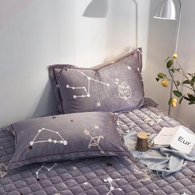 2019新款牛奶绒珊瑚绒法莱绒金貂绒水晶绒印花夹棉单枕套 48cmX74cm 一对 星座