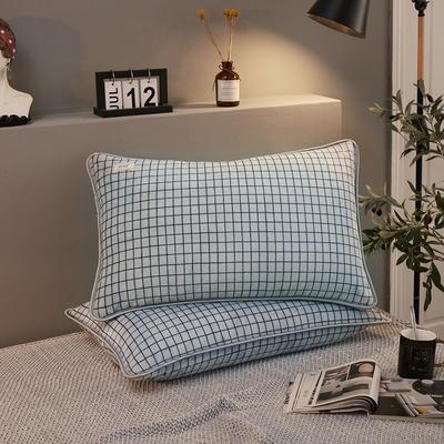 2019新款250克新棉绒牛奶绒珊瑚绒法莱绒金貂绒-男神系列单枕套 48cmx74cm 一只 格子-蓝