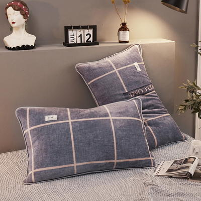 2019新款250克新棉绒牛奶绒珊瑚绒法莱绒金貂绒-男神系列单枕套 48cmx74cm 一只 欢迎格-蓝