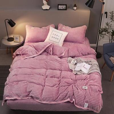 2019新款250克新棉绒牛奶绒珊瑚绒法莱绒金貂绒-男神系列四件套 1.2m床单款三件套 格子-粉