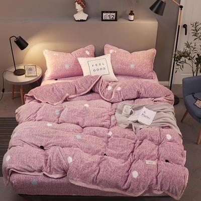 2019新款250克新棉绒牛奶绒珊瑚绒法莱绒金貂绒-男神系列四件套 1.2m床单款三件套 肌理波点-粉