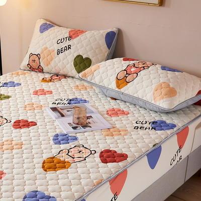 2021针织棉夹棉  枕套 48cmX74cm 爱心小熊
