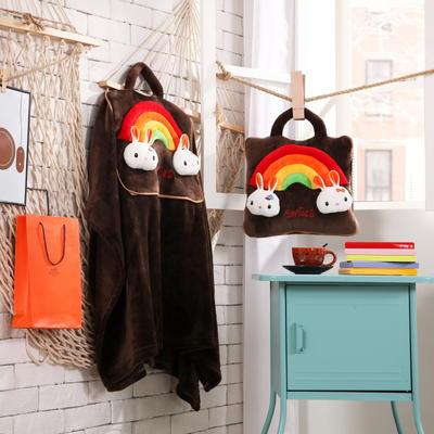 彩虹兔-咖啡 38*38cm,打开110*160cm 彩虹兔-咖啡