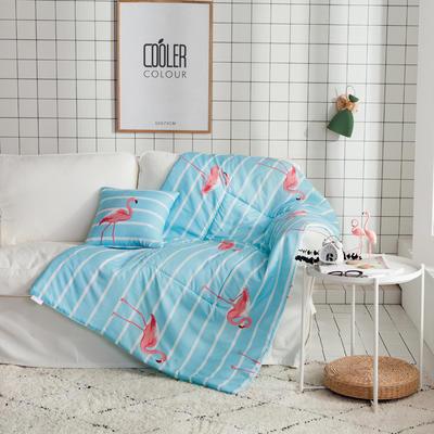 ins风抱枕被 40X40cm 条纹火烈鸟-蓝