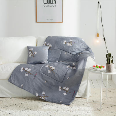 2018全棉抱枕被 40X40cm 暖语柔情蓝灰