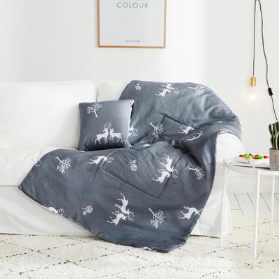 2018全棉抱枕被 50X50cm 鹿语风情
