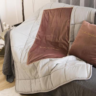 意大利绒轻奢抱枕被 50X50cm展开155*195 褐红色