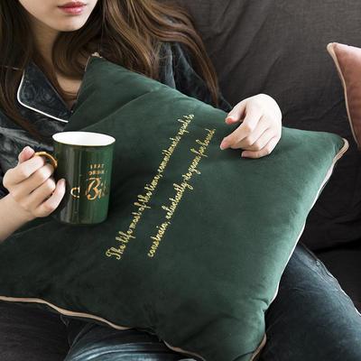意大利绒轻奢抱枕被 45x45cm 墨绿色
