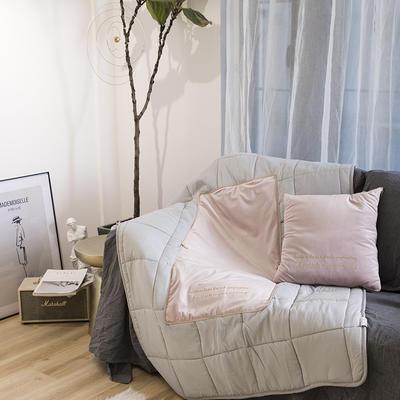 意大利绒轻奢抱枕被 50X50cm展开155*195 樱花粉
