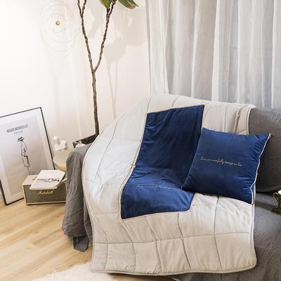 意大利绒轻奢抱枕被 45x45cm 子夜蓝