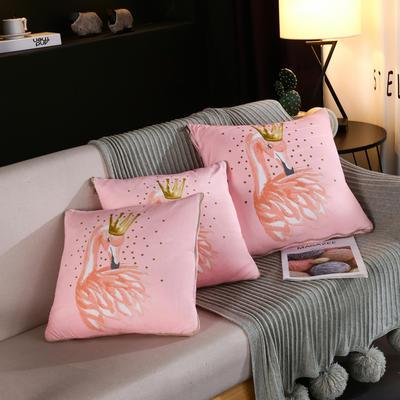 水晶超柔卡通印花抱枕被 40X40cm 皇冠火烈鸟
