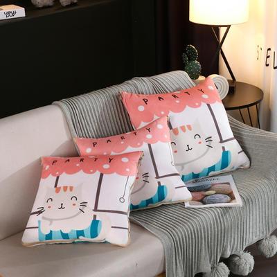水晶超柔卡通印花抱枕被 40X40cm 开心猫
