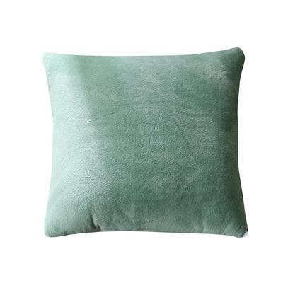 水晶超柔纯色抱枕被 40X40cm 豆绿