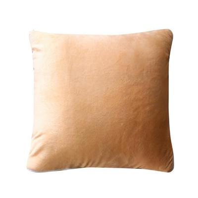水晶超柔纯色抱枕被 40X40cm 米驼