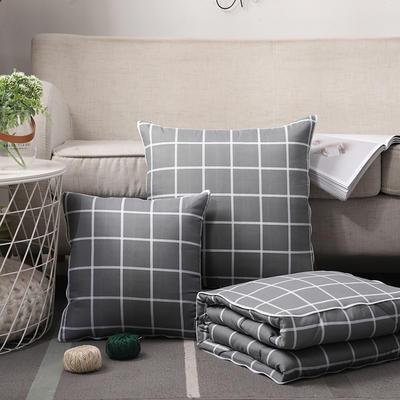 无印风水洗棉抱枕被 50X50cm 灰小格