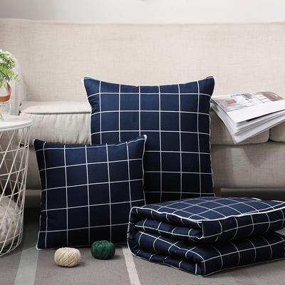 无印风水洗棉抱枕被 40X40cm 藏青小格