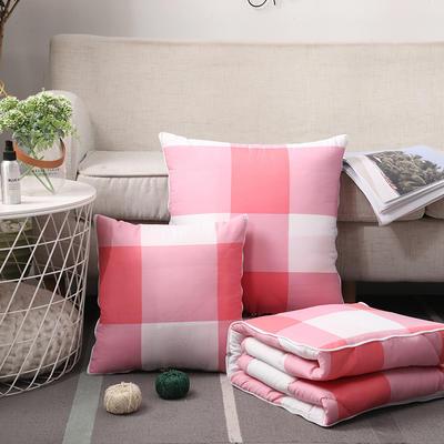 无印风水洗棉抱枕被 50X50cm 粉大格
