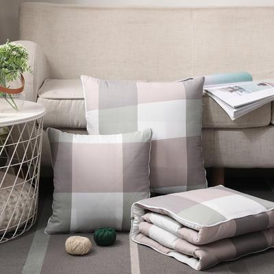 无印风水洗棉抱枕被 40X40cm 绿大格