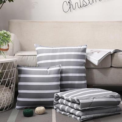 无印风水洗棉抱枕被 40X40cm 灰条纹