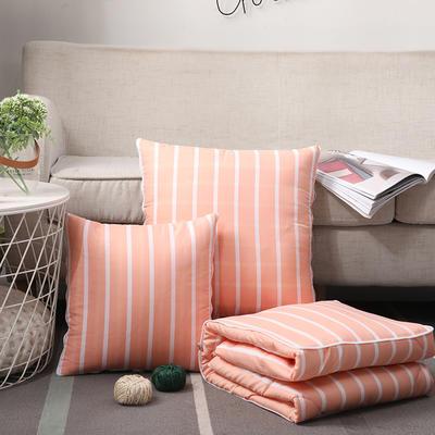 无印风水洗棉抱枕被 50X50cm 粉条纹