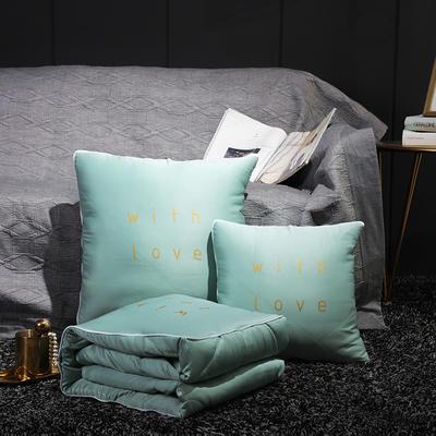 水洗真丝烫金抱枕被 40X40cm 艾草绿