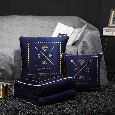 水洗真丝烫金抱枕被 50X50cm 皇家蓝