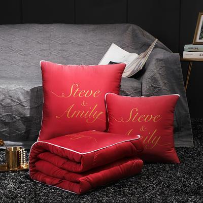 水洗真丝烫金抱枕被 40X40cm 洛可可红