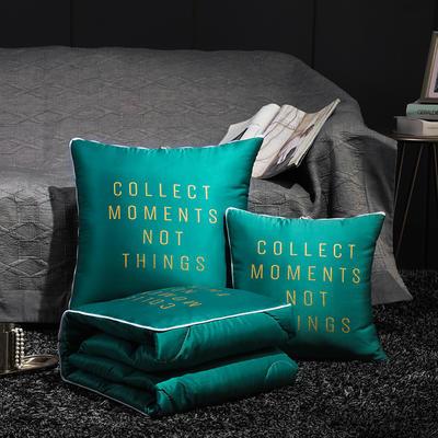 水洗真丝烫金抱枕被 50X50cm 奢华绿