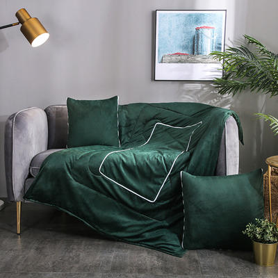 水晶超柔纯色抱枕被 40X40cm 墨绿
