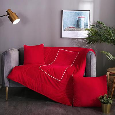 水晶超柔纯色抱枕被 40X40cm 酒红