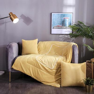 水晶超柔纯色抱枕被 40X40cm 姜黄
