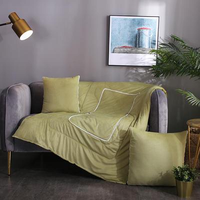 水晶超柔纯色抱枕被 40X40cm 芥末绿