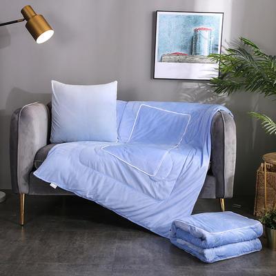 水晶超柔纯色抱枕被 40X40cm 天蓝