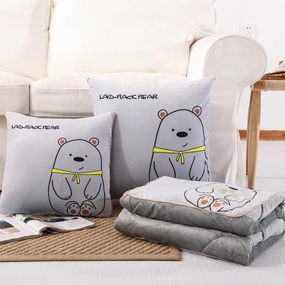 水晶超柔印花抱枕被(2019新花型) 40X40cm 可爱小熊