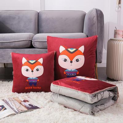 原创卡通水晶绒抱枕被 50X50cm 狐狸