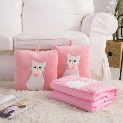 治愈系列抱枕被/毯 毯子款 萌宠小猫粉