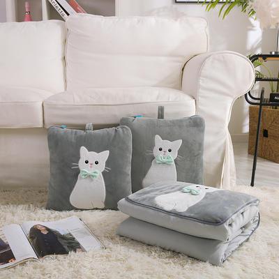治愈系列抱枕被/毯 被子款 萌宠小猫灰