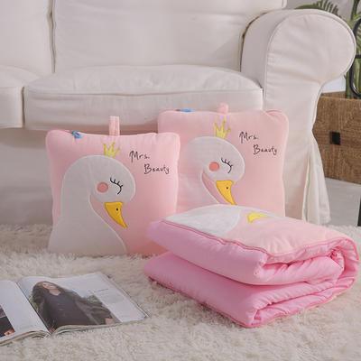 治愈系列抱枕被/毯 毯子款 天鹅粉